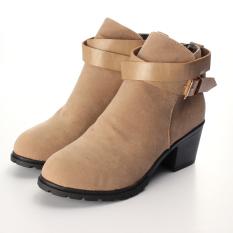Perbandingan Harga Wanita Hangat Musim Dingin Sepatu Bot Salju Gesper Kulit Chunky Sepatu Hak Rendah Oem Di Hong Kong Sar Tiongkok