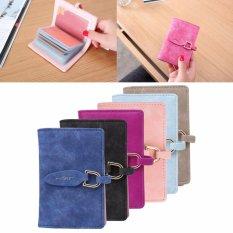 Wanita Kredit Tempat Kartu Daun PU Dompet Kulit ID Holder Clutch Handbag (hotpink)-Intl