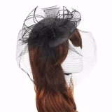 Toko Women Lady Headband Hat Bride Hairband Wedding Fascinator Veil Feather Hard Yarn Black Intl Termurah Di Hong Kong Sar Tiongkok