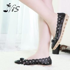Women Lady PU Leather Bow bowknot Hollow Solid Sandals Ballet Dance Flats Shoes BLACK - intl