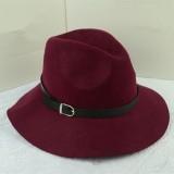 Jual Wanita Lady Wool Belt Fedora Trilby Cap Hangat Musim Dingin Lebar Brim Desain Cowboy Hat Anggur Merah Intl Murah Tiongkok