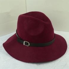 Jual Wanita Lady Wool Belt Fedora Trilby Cap Hangat Musim Dingin Lebar Brim Desain Cowboy Hat Anggur Merah Intl Termurah