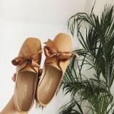 Harga Wanita Kulit Sepatu Kasual Leisure Ringkas Flat Sepatu Coklat Muda Internasional Fullset Murah