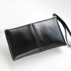 Jual Beli Dompet Kulit Wanita Lipat Panjang Ritsleting Tas Kopling Dompet Tas Kartu Hitam Hong Kong Sar Tiongkok