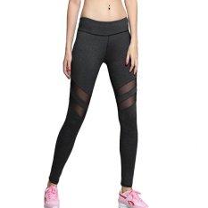 Legging Wanita Cepat Kering Legging Seksi Mesh High Waist Slim Jogger Pants High Elastic Yoga Celana Fitness Pants-Intl