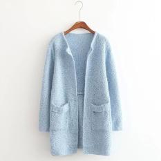 Beli Wanita Memakai Cardigan Panjang Lengan Panjang Kasual Wanita Longgar Saku Sweter Kardigan Gugur Musim Dingin Jaket Tebal Biru Muda Terbaru