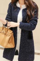 Toko Wanita Memakai Kardigan Panjang Lengan Panjang Kasual Wanita Longgar Saku Sweater On Kardigan Gugur Musim Dingin Jaket Tebal Biru Laut ต่างประเทศ Yang Bisa Kredit