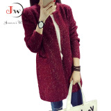 Cara Beli Wanita Memakai Kardigan Panjang Lengan Panjang Kasual Wanita Longgar Saku Sweater On Kardigan Gugur Musim Dingin Jaket Tebal Anggur
