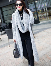 Kualitas Women Long Cardigans Autumn Winter Thicken Coat Casual Knitted Oversized Sweaters Warm Outwear Scarf Collar Light Gray Intl Oem