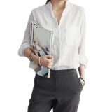 Harga Wanita Panjang Seeve Katun Tipis Linen Blus Putih Origin