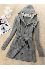 Jual Wanita Lengan Panjang Hoodie Coat Long Trench Sweater Cardigan Grey Intl Unbranded Original