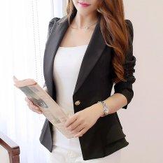 Toko Wanita Lengan Panjang Tipis Blazer Flounced Pendek Blazer Satu Kancing Hitam Oem Tiongkok