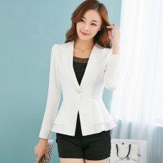 Jual Wanita Lengan Panjang Tipis Blazer Ruffle Short Blazer Satu Kancing Putih Murah Tiongkok