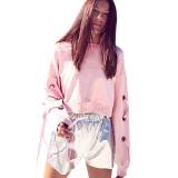 Spesifikasi Wanita Lengan Panjang Tali Longgar Pullover Hoodies Gaya Pendek Crop Top Bts Kpop Renda Kasual Sweatshirt Pink Intl Bagus