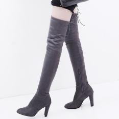 Beli Wanita Long Stretch Di Atas Sepatu Lutut Paha Tinggi Bertumit Boots Zipper Lace Sepatu Intl Yang Bagus