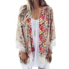 Review Pada Wanita Jersey Rayon Longgar Kimono Kardigan Bermotif Bunga Bunga Renda Hem Lengan Panjang Pantai Pakaian Atas Dril