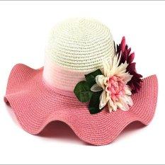 Jual Women Lovely Simulasi Bunga Daun Chiffon Pita Cap Lady Musim Panas Brimmed Hat Anti Uv Topi Fashion Pot Hat Beach Cap Pink Intl Online Tiongkok