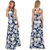 Beli Wanita Maxi Dress Halter Leher Tanpa Lengan Bermotif Bunga Musim Panas Liburan Pantai Long Slip Gaun Biru Intl