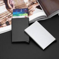 Wanita Pria Aluminium Slim ID Kartu Kredit Pelindung RFID Pemegang Dompet Dompet Case (Hitam)