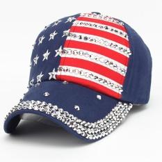 Promo Wanita Pria American Flag Baseball Cap Snapback Hip Hop Flat Hat Ny Intl Tiongkok