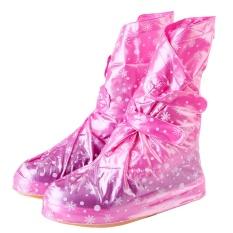 Wanita Men Reusable Rain Cover untuk Sepatu Anak Waterproof Shoes Covers Boots Hujan Flat Slip-resistant Overshoes Galocha (pink L Ukuran) -Intl