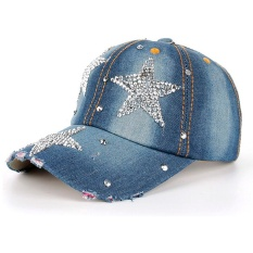 Women Men Stars Denim Rhinestone Baseball Cap Snapback Hip Hop Flat Hat - intl