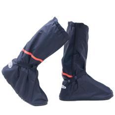 Wanita Pria Unisex Panjang Oxford Anti-slip Sepatu Hujan Tahan Air Meliputi Overshoes Boots dengan Tali Elastis untuk Outdoor Hiking Naik Mendaki M-Intl