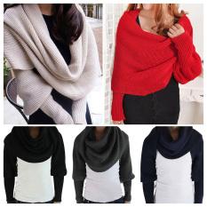 Wanita pria lembut dan hangat musim dingin wol rajut dengan syal selendang syal lengan baju krem - Internasional