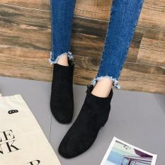 Wanita Mid Heel Ankle Zipper Platform Sepatu Slope Martin Boots Bk 37 Intl Murah