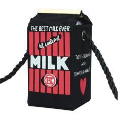 Toko Women Milk Cartoon Canvas Shoulder Bag Black Intl Online Di Hong Kong Sar Tiongkok