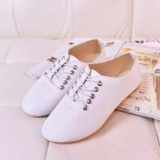 Wanita Mocassins Loafer Gaya Inggris Leisure Joker Flat Lace Up Sepatu Putih Intl Tiongkok