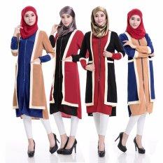 Wanita Muslim Abaya Kaftan Lengan Pendek Rajutan Pakaian Jilbab Ladies Islam Cocktail Arab Maxi Dress Tidak Termasuk Jilbab-Hitam Merah -Intl