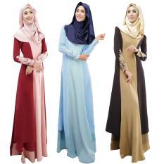 Wanita Muslim Dress Disambung Warna Blok Crochet Lace Zipper Lengan Panjang Arab Maxi One-Piece-Intl