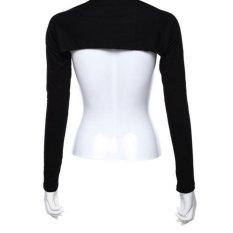 Women Muslim Modal Hijab One Piece Sleeves Shoulder Arm Cover Shrug Bolero Sleeves Tops Black - intl