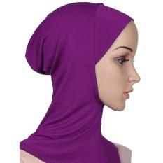 Wanita Muslim Pengandaian Lembut dan Fleksibel Bungkus Menutupi Kepala Leher Bagian Dalam Jilbab Topi Ungu (Internasional)-Internasional