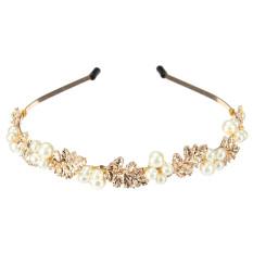 Top 10 Wanita Fashion Baru Kepala Logam Paduan Pesona Perhiasan Aksesoris Rambut Bando Perhiasan Mutiara Kerajaan Gaya Barok Hadiah Daun Emas Putih Internasional Online