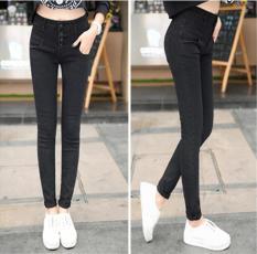 Wanita Baru Korea Versi Tipis Breasted Tinggi Pinggang Jeans Celana Celana Kaki Hitam-Intl