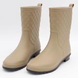 Jual Beli Wanita Non Slip Hujan Bang Pendek Sepatu Kasual Martin Rain Boots Beige Tiongkok