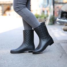 Jual Cepat Wanita Non Slip Hujan Bang Pendek Sepatu Kasual Martin Rain Boots Hitam