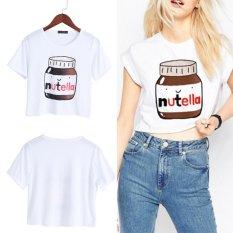 Harga Wanita Nutella Cetak Kawaii Fesyen Wanita Musim Panas Lengan Pendek T Shirt Harajuku Kebugaran 2Xl Intl Baru Murah