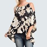 Spesifikasi Wanita Off Bahu Floral Print Blus 3 4 Lengan Melebar Asimetris Kasual Seksi Blusas Atas Hitam Internasional
