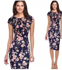Harga Wanita Ol Elegan Floral Bodycon Pensil Slim Gaun Berwarna Merah Muda Bunga Intl Oem Terbaik
