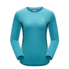 Wanita Outdoor Cepat Kering T Shirt Panjang Sleeve Tees Pakaian Mendaki Gunung, Hiking, dan Berolah Raga Olahraga-biru-Intl