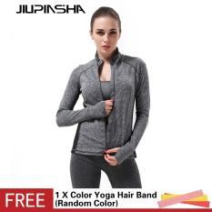 Wanita Patchwork Olahraga Menjalankan Jaket Super Bernapas Melengkung Slim Kebugaran Gym Saku Belakang Cardigan Mantel-Intl