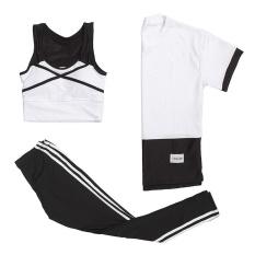 Wanita Patchwork Olahraga Perapi Qucik Dry Bernapas Outdoor Fitness Gym Plus Ukuran Set Putih-Intl