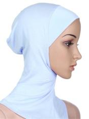 Wanita Polos Jilbab Kerudung dengan Leher Jilbab Coverchief Headcount Bonnet Putih-Internasional