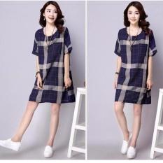 Wanita Gemuk Wanita Hamil Gaun Kotak-kotak Celana Pendek Linen Sleevea-Tali Gaun Leher-o Kaus Gaun Atasan Plus Ukuran (Biru) -Internasional