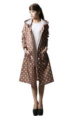 Harga Wanita Poncho Riding Knee Panjang Polka Dots Waterproof Hooded Raincoat Khaki Yang Bagus