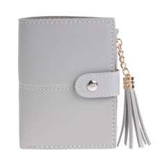 Women PU Leather Button Tassel Short Wallet Card Coin Holder Clutch Purse(Grey )  -   intl