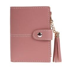 Wanita PU Kulit Tombol Rumbai Pendek Wallet Peta Koin Pemegang Kopling Dompet (Merah)